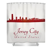 Jersey City Skyline In Red Shower Curtain