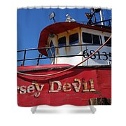 Jersey Devil Clam Boat Shower Curtain