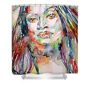 Jessye Norman - Watercolor Portrait Shower Curtain