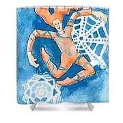 Jester With Snowflakes Shower Curtain by Genevieve Esson