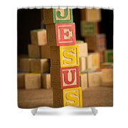 Jesus - Alphabet Blocks Shower Curtain