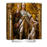 Jesus And Angel Sculptures In Mezquita Shower Curtain