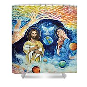 Jesus And Mary Cloud Colored Christ Come Shower Curtain