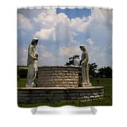 Jesus And The Woman At The Well Cemetery Statues Shower Curtain