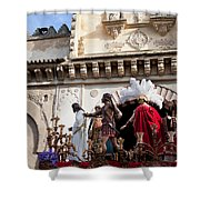 Jesus Christ And Roman Soldiers On Procession Platform Shower Curtain