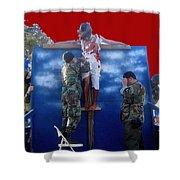 Jesus Christ Float 60th Anniversary Of The Landing On Iwo Jima In Ww2 Sacaton Arizona 2005 Shower Curtain