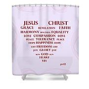 Jesus Christ Message Shower Curtain by Georgeta  Blanaru