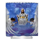 Jesus Enthroned Shower Curtain by Tamer and Cindy Elsharouni