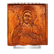 Jesus From A Door Panel At Santuario De Chimayo Shower Curtain