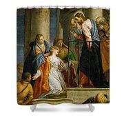 Jesus Healing The Woman With The Issue Of Blood Shower Curtain