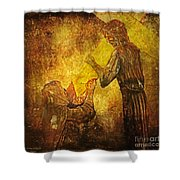 Jesus Meets His Mother Via Dolorosa 4  Shower Curtain by Lianne Schneider