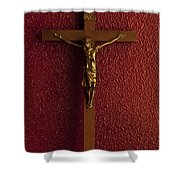 Jesus On Cross Against Red Wall Shower Curtain