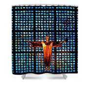 Jesus Sculpture And Blue Glass Background Shower Curtain