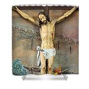 Jesus Statue At Latin Church In Taybeh Shower Curtain