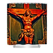 Jesus Statue Of Notre Dame Shower Curtain
