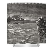 Jesus Walking On The Sea John 6 19 21 Shower Curtain by Gustave Dore