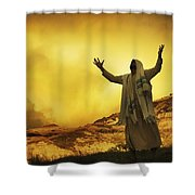 Jesus With Arms Stretched Towards Heaven Shower Curtain