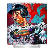 Jeter At Bat Shower Curtain