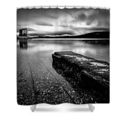 Jetty To Castle Stalker Shower Curtain by Dave Bowman