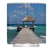 Jetty With Beach Hut Shower Curtain