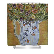 Jewel Tea Pitcher With Marigolds Shower Curtain