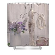 Jewellery And Pearls Shower Curtain by Amanda Elwell