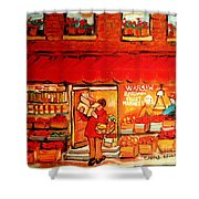 Jewish Culture In Montreal Paintings Of Warshaw's Fruit Store On St.lawrence Street Scene Art  Shower Curtain