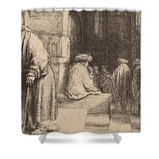Jews In The Synagogue Shower Curtain