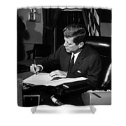Jfk Signing The Cuba Quarantine Shower Curtain by War Is Hell Store
