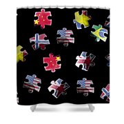 Jigsaw Puzzle Flag Pieces Shower Curtain