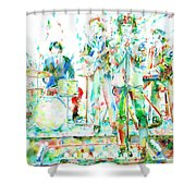 Jim Morrison And The Doors Live On Stage- Watercolor Portrait Shower Curtain