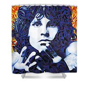Jim Morrison Chuck Close Style Shower Curtain by Joshua Morton