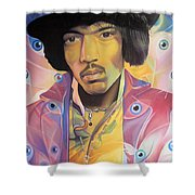 Jimi Hendrix Eyes Shower Curtain