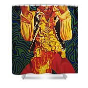 Jimi Hendrix Fire Shower Curtain