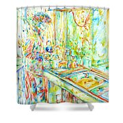 Jimi Hendrix In The Kitchen Watercolor Portrait Shower Curtain