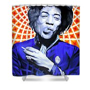 Jimi Hendrix-orange And Blue Shower Curtain