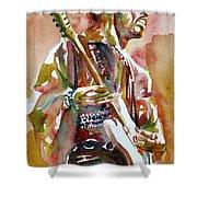 Jimi Hendrix Playing The Guitar Portrait.3 Shower Curtain