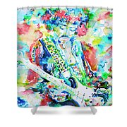 Jimi Hendrix Playing The Guitar.2 -watercolor Portrait Shower Curtain