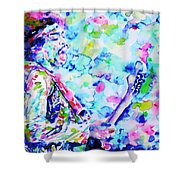 Jimi Hendrix Playing The Guitar.4 -watercolor Portrait Shower Curtain