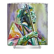 Jimi Hendrix Playing The Guitar.5 -watercolor Portrait Shower Curtain
