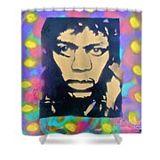 Jimi Hendrix Squared Shower Curtain