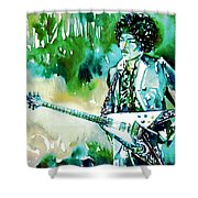 Jimi Hendrix With Guitar Shower Curtain
