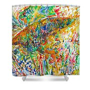 Jimi Hendrix With Hat Watercolor Portrait Shower Curtain