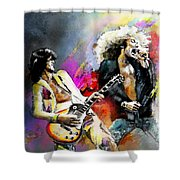 Jimmy Page And Robert Plant Led Zeppelin Shower Curtain by Miki De Goodaboom