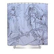 Jimmy Page And Robert Plant Live Concert-pen Portrait Shower Curtain