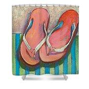 Pink Flip Flops Shower Curtain