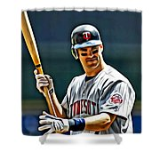 Joe Mauer Painting Shower Curtain