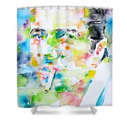 Joe Strummer - Watercolor Portrait Shower Curtain