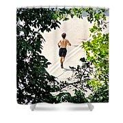Jog Shower Curtain by Randi Shenkman