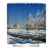 Jogger On Ice Shower Curtain
